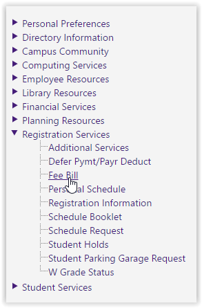 Fee Bill link in the middle of the Registration Services dropdown menu