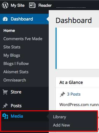 Wordpress media dropdown menu