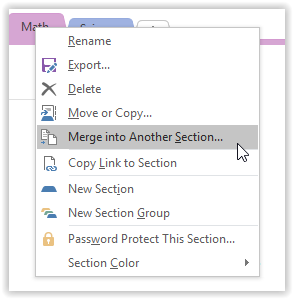 merge into another section tab