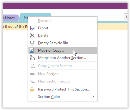 the context menu with move or copy highlighted at the fourth option in the context menu.