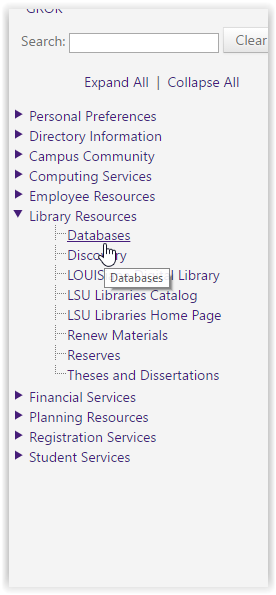 myLSU Library Resources