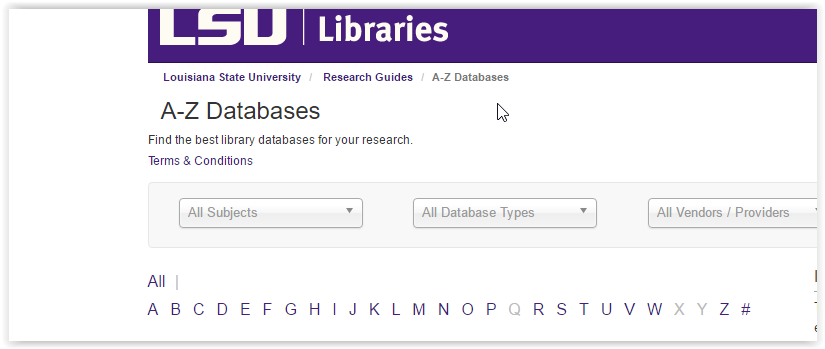 Window showing LSU Library  Databases