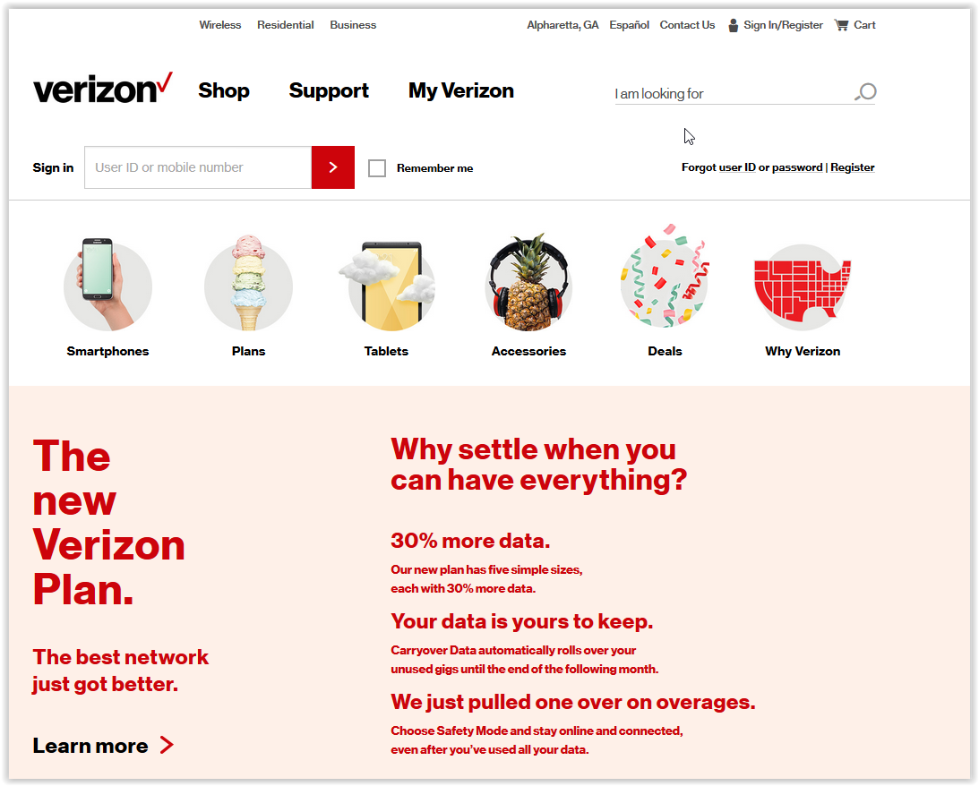 Verizon Wireless LSU Discount page