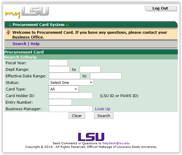 LSU Procurement Card page