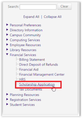 Scholarship Application in LSU myportal