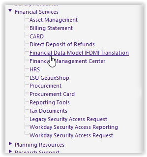 myLSU Portal: Financial Data Model (FDM) Translation - GROK