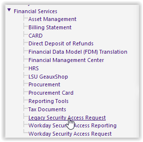Financial services in myLSU portal