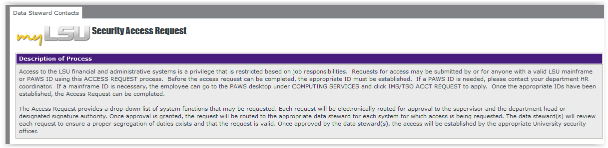 LSU Legacy Security Access Request