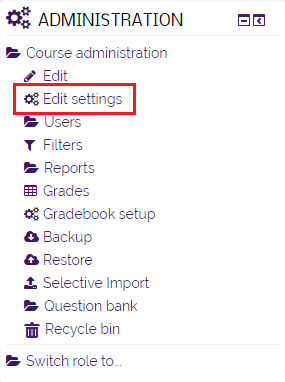 Edit settings option