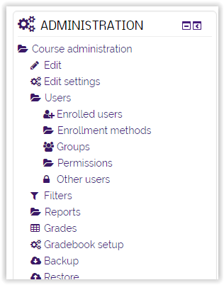 adminstration section of Moodle with enrolled users highlighted.