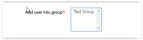 add user into group section with a box listing roles