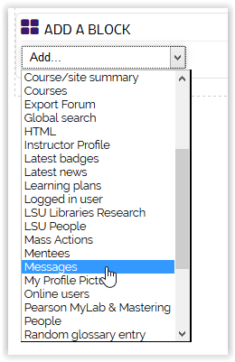 Message Option on the Add a Block dropdown menu