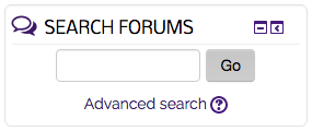Advanced Search option beneath the Search Forums textbox