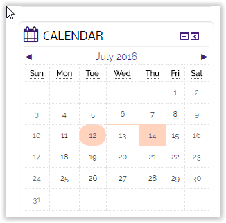 calendar block example at the right side of the screen