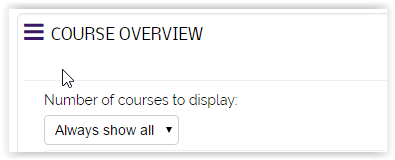 dropdown menu for how many courses to display