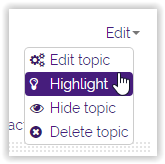 clicking the highlight button in moodle  3