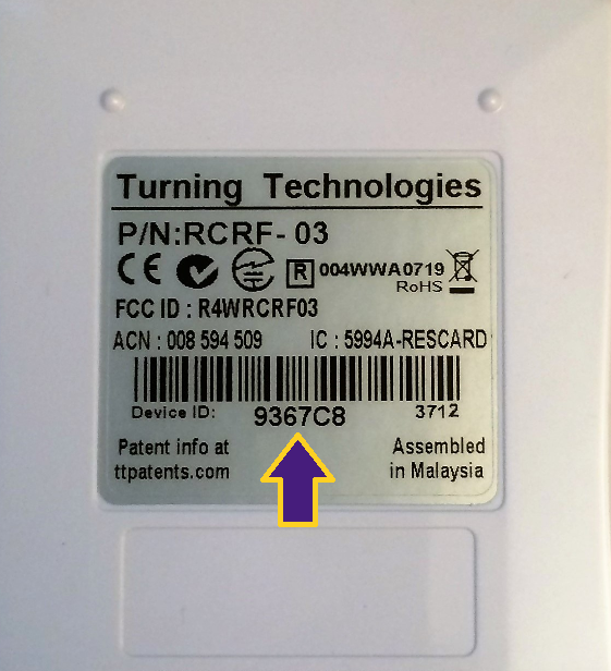 Device ID location on the back of clickers.