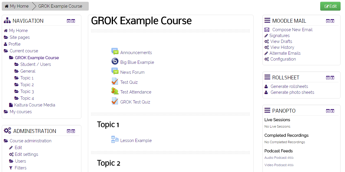 Course Overview page