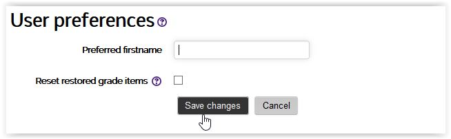 preferred firstname field box with the save changes button highlighted.