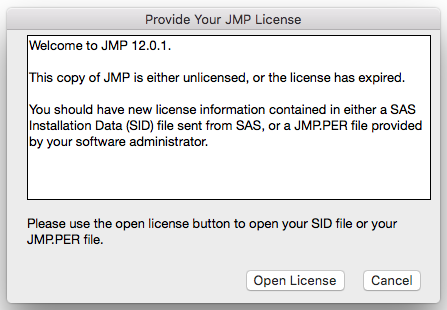 JMP Product Licensing window