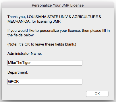 JMP License Personalization window