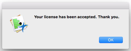 License Accepted window