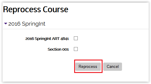 section check boxes under reprocess course