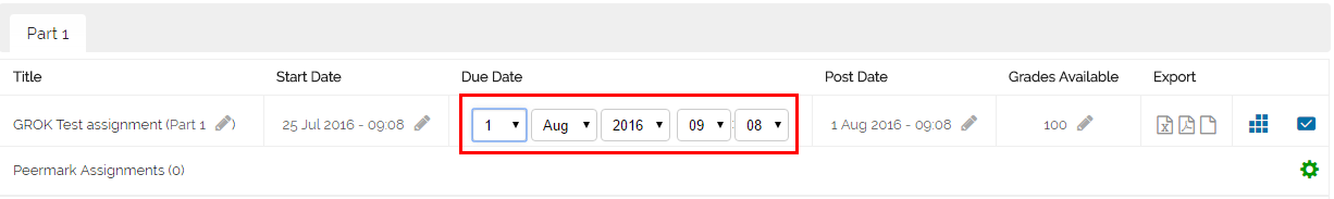 changing the date fields in an assignment