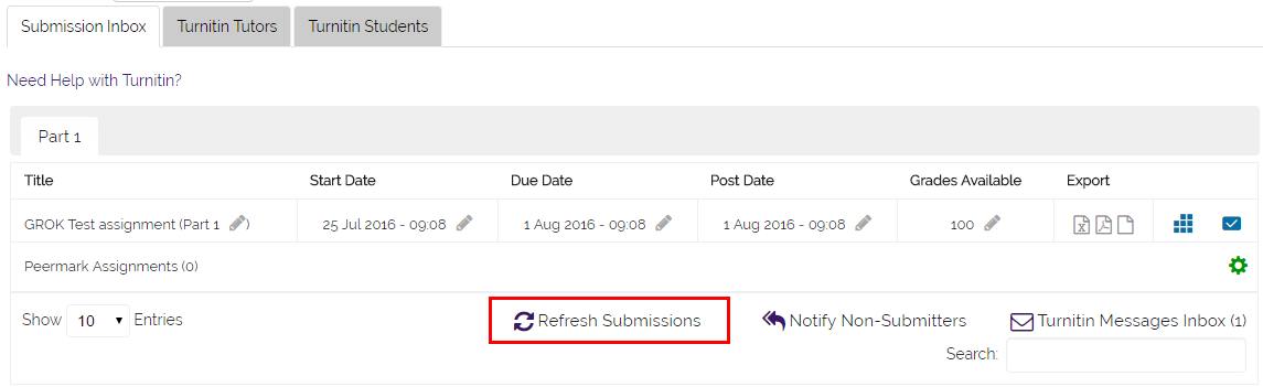 turnitin refresh button above the submissions list