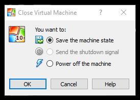virtualbox save machine state