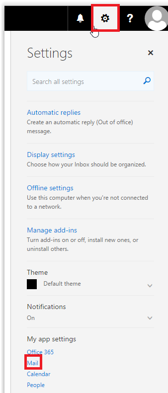 Settings and mail button