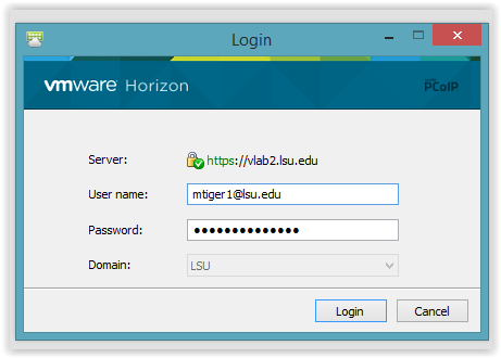 VMware Login window