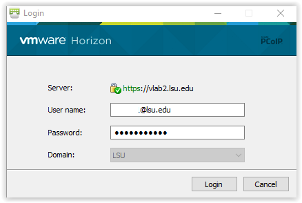 entering the username and password to VLab
