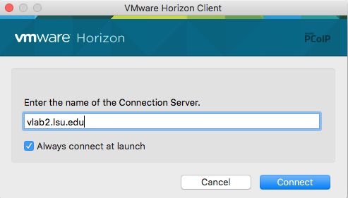 vlab domain entered into horizon client
