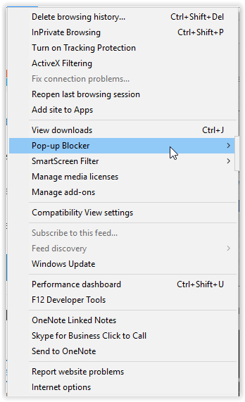 pop-up blocker command on the tools toolbar.