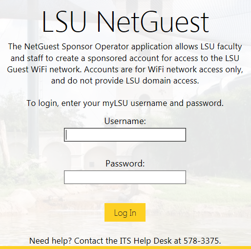 LSU NetGuest login screen