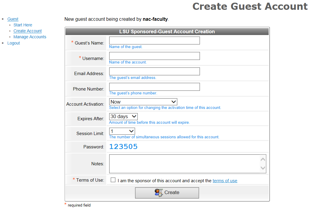 create guest account window