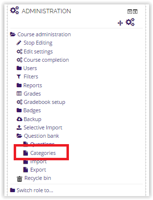 Categories option on the Administration block