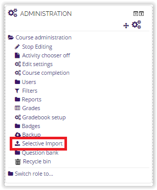 Selective Import option under Administration