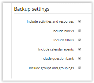 Backup Settings for the imports
