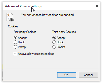Advanced window with First-party, third-party as options and Accept highlighted.