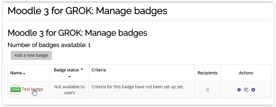 the manage badges screen