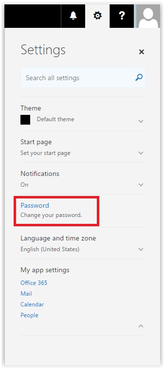 settings drop down menu reveals the password options.