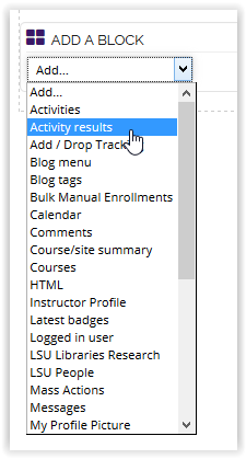 Activity Results from the Add a Block drop down menu.