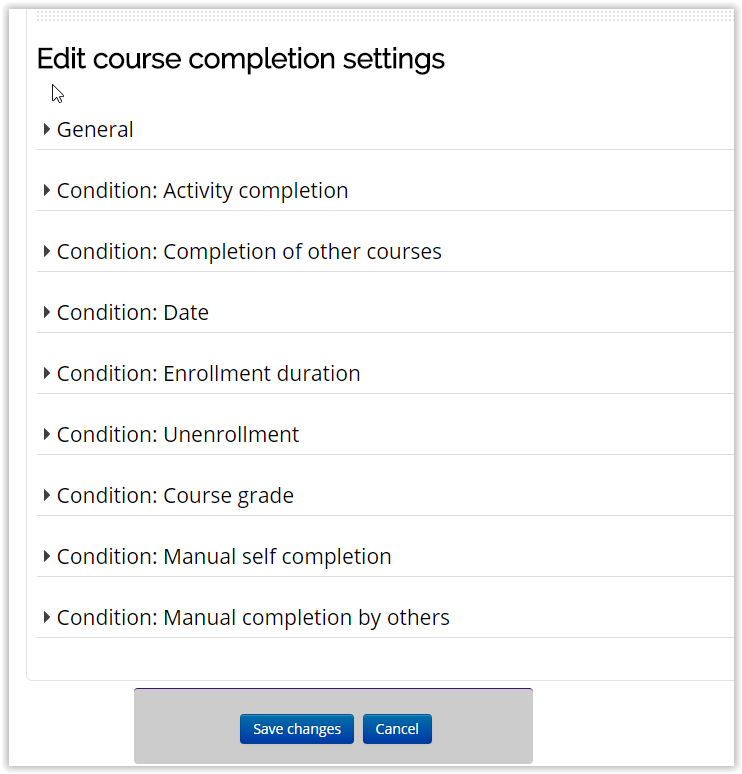 course completion settings page