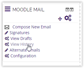 the moodle mail block with the cursor over view history