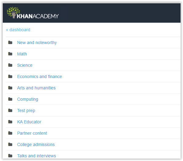 khan academy resource page