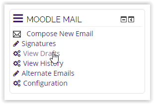 the moodle mail block with the cursor over the view drafts option