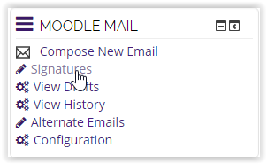 Moodle Mail block with signatures highlighted.