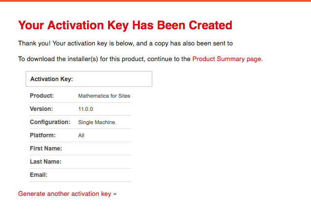 Activation Key page